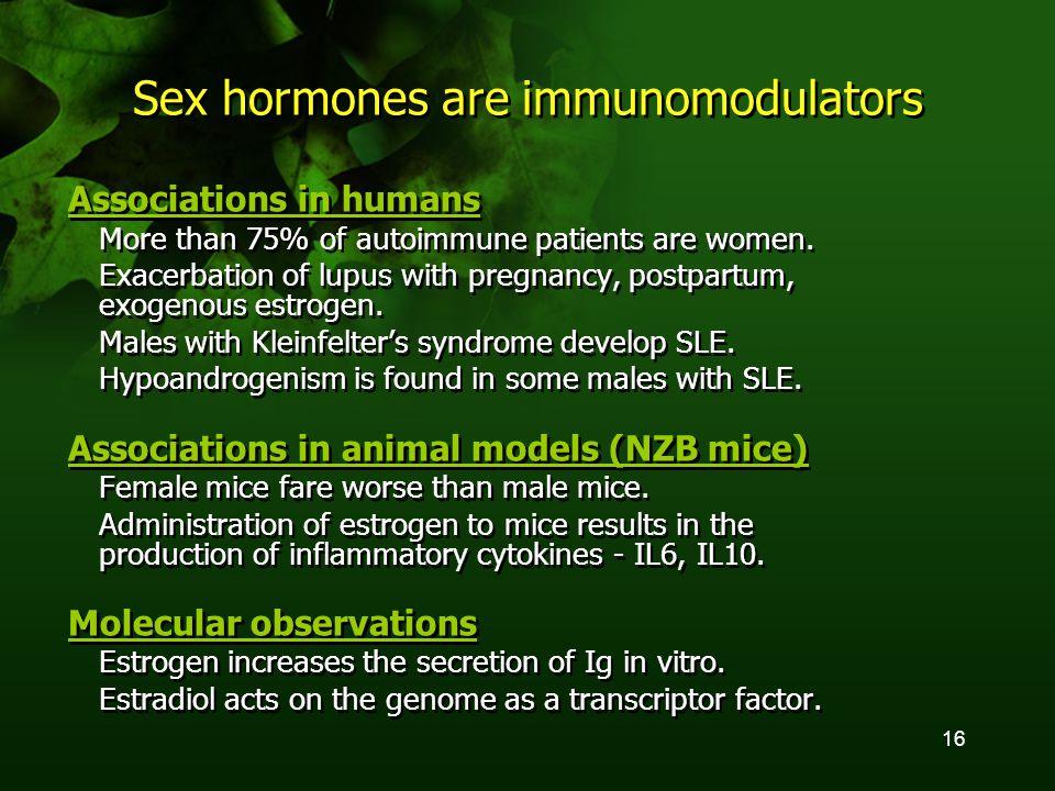 16 Sex hormones are immunomodulators Associations in humans More than 75% of autoimmune patients are women.