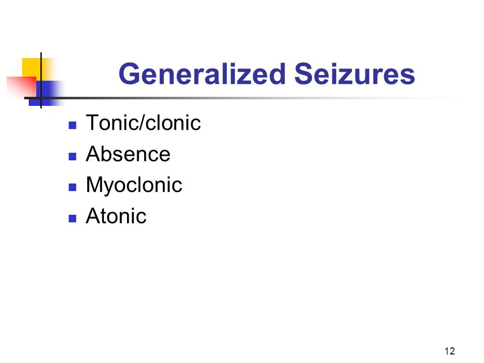 12 Generalized Seizures Tonic/clonic Absence Myoclonic Atonic