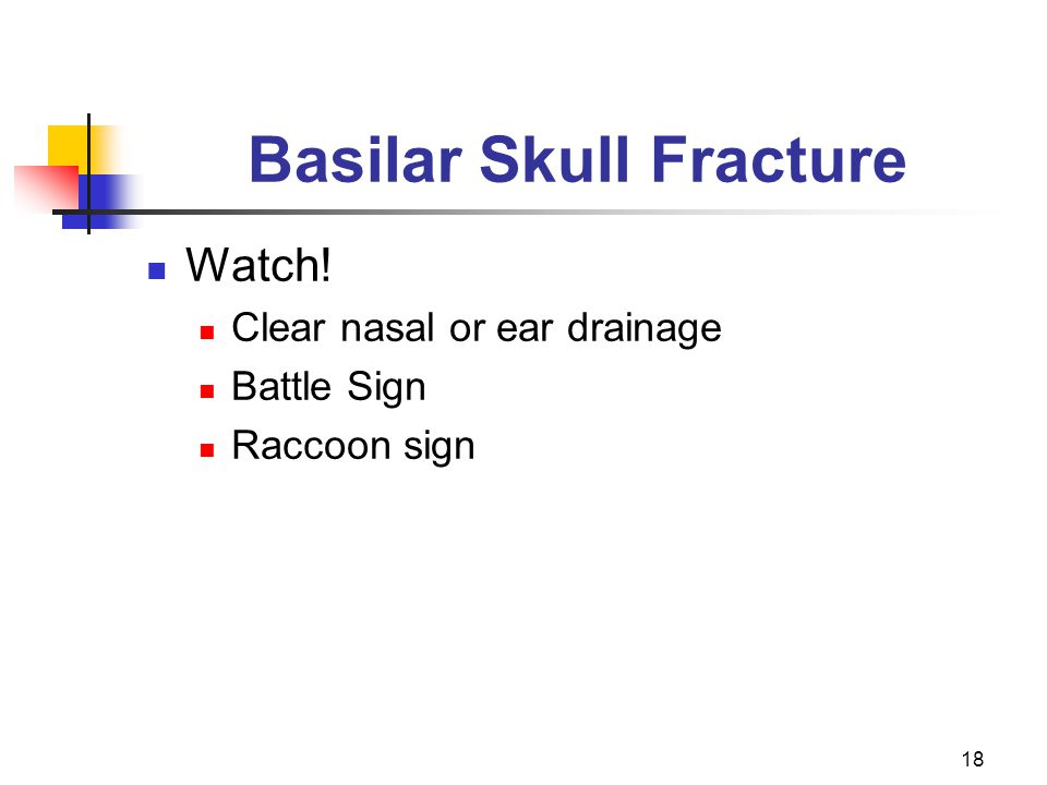 18 Basilar Skull Fracture Watch! Clear nasal or ear drainage Battle Sign Raccoon sign