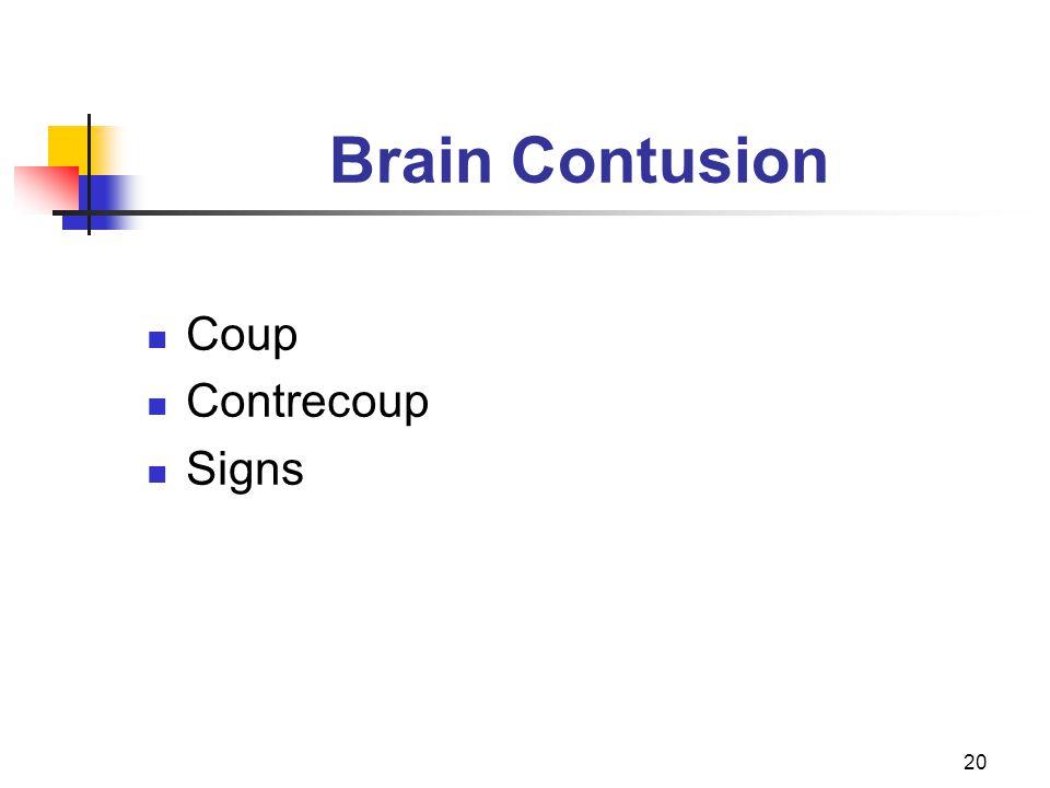 20 Brain Contusion Coup Contrecoup Signs