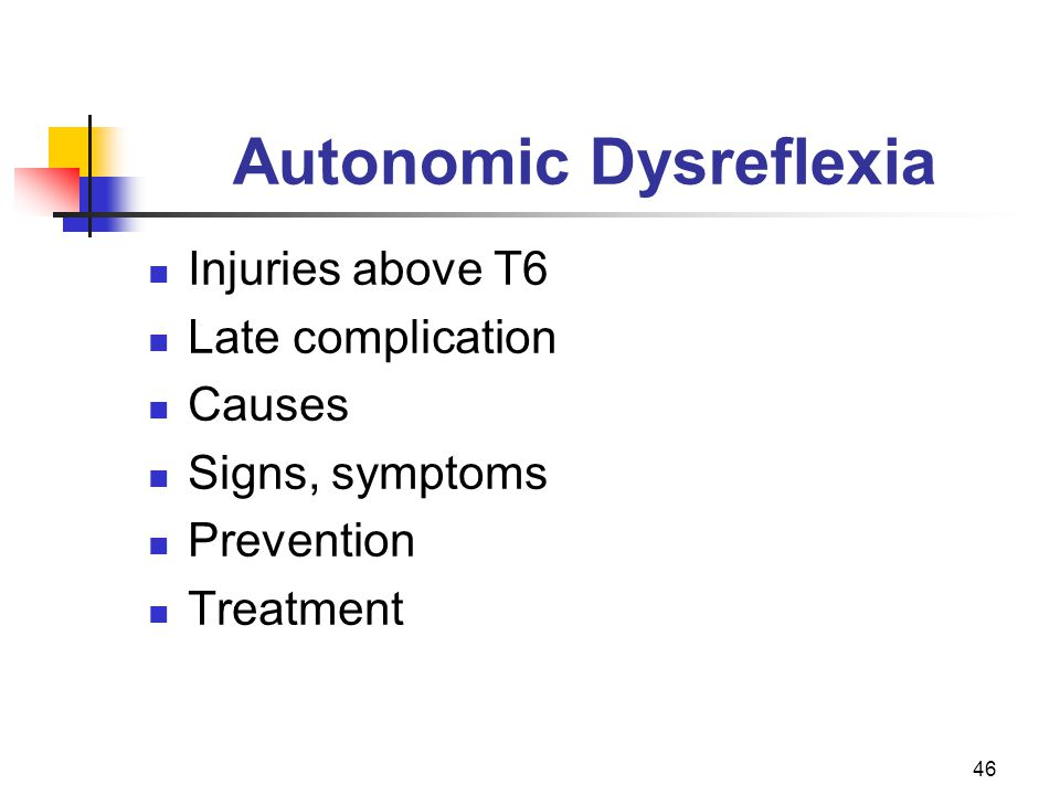 46 Autonomic Dysreflexia Injuries above T6 Late complication Causes Signs, symptoms Prevention Treatment