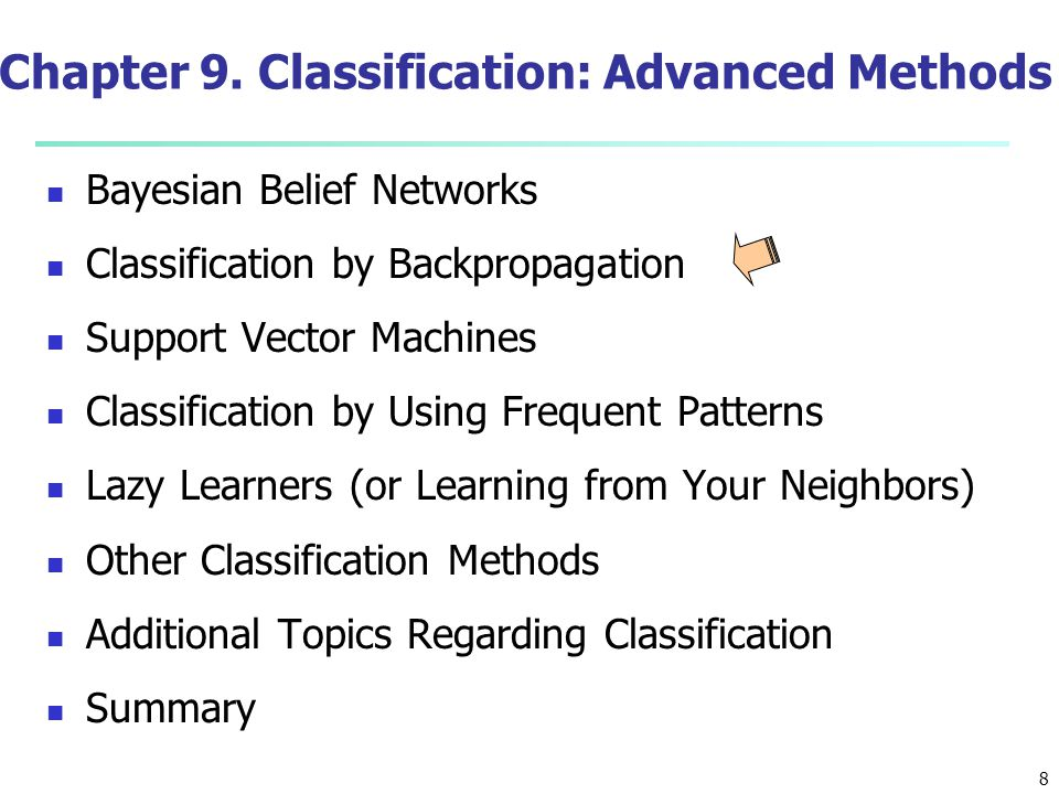 19 Discriminative Classifiers Advantages Prediction accuracy is generally high As compared to Bayesian methods – in general Robust, works when training examples contain errors Fast evaluation of the learned target function Bayesian networks are normally slow Criticism Long training time Difficult to understand the learned function (weights) Bayesian networks can be used easily for pattern discovery Not easy to incorporate domain knowledge Easy in the form of priors on the data or distributions