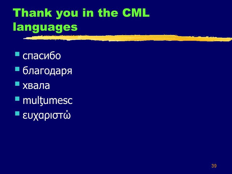 39 Thank you in the CML languages  cпасибо  благодаря  хвала  mulţumesc  ευχαριστώ