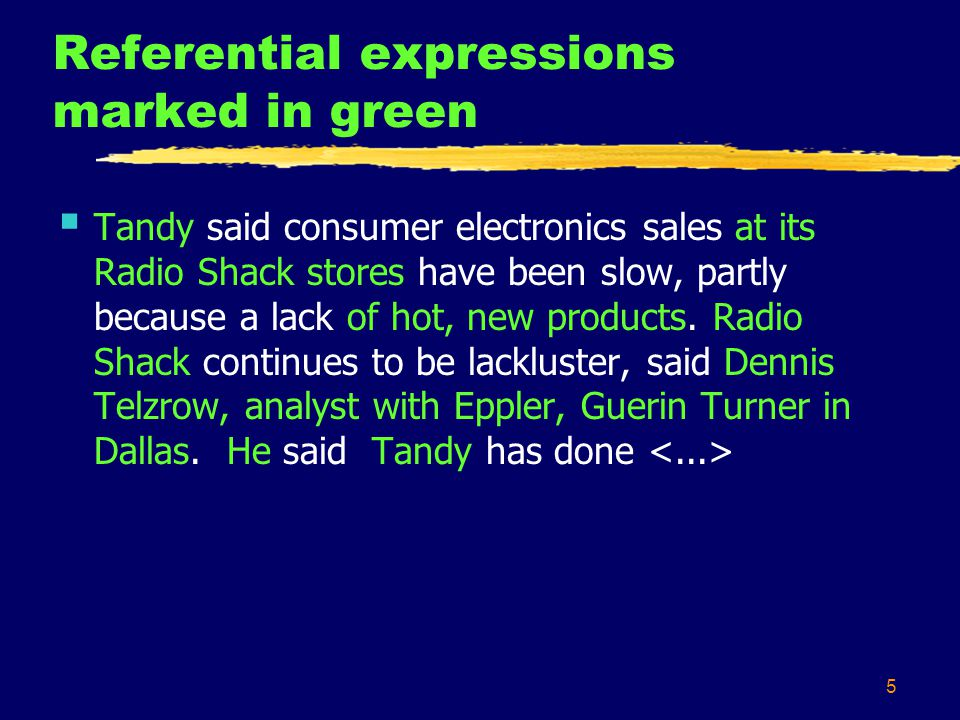 6 Referential expressions removed  Tandy said consumer electronics sales at its Radio Shack stores have been slow, partly because a lack of hot, new products.