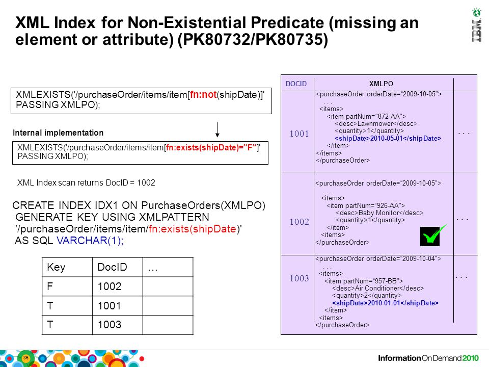 36 XML Index for Non-Existential Predicate (missing an element or attribute) (PK80732/PK80735) XMLEXISTS('/purchaseOrder/items/item[fn:not(shipDate)]'
