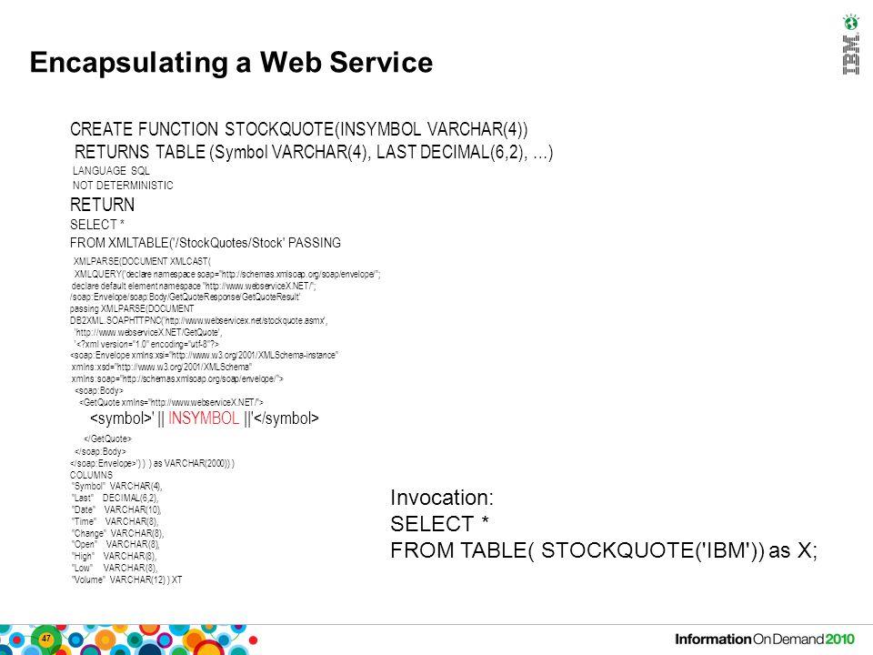47 Encapsulating a Web Service CREATE FUNCTION STOCKQUOTE(INSYMBOL VARCHAR(4)) RETURNS TABLE (Symbol VARCHAR(4), LAST DECIMAL(6,2), …) LANGUAGE SQL NOT DETERMINISTIC RETURN SELECT * FROM XMLTABLE( /StockQuotes/Stock PASSING XMLPARSE(DOCUMENT XMLCAST( XMLQUERY( declare namespace soap= http://schemas.xmlsoap.org/soap/envelope/ ; declare default element namespace http://www.webserviceX.NET/ ; /soap:Envelope/soap:Body/GetQuoteResponse/GetQuoteResult passing XMLPARSE(DOCUMENT DB2XML.SOAPHTTPNC( http://www.webservicex.net/stockquote.asmx , http://www.webserviceX.NET/GetQuote , || INSYMBOL || ) ) ) as VARCHAR(2000)) ) COLUMNS Symbol VARCHAR(4), Last DECIMAL(6,2), Date VARCHAR(10), Time VARCHAR(8), Change VARCHAR(8), Open VARCHAR(8), High VARCHAR(8), Low VARCHAR(8), Volume VARCHAR(12) ) XT Invocation: SELECT * FROM TABLE( STOCKQUOTE( IBM )) as X;