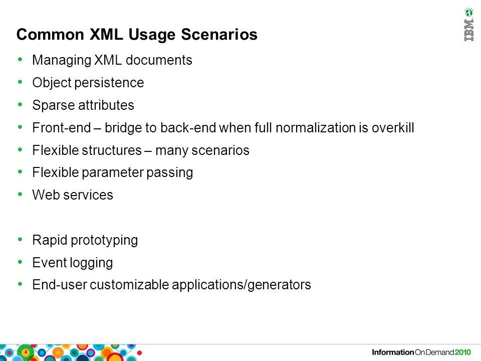 5 Key XML Features in DB2 10 XML schema association with XML columns (a.k.a.