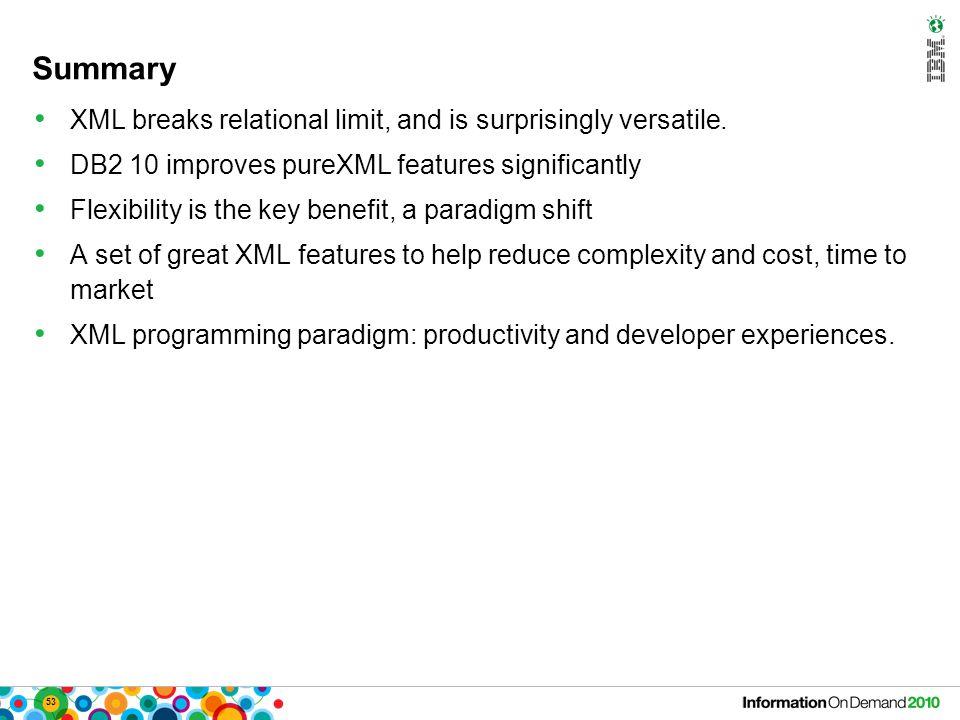 53 Summary XML breaks relational limit, and is surprisingly versatile.