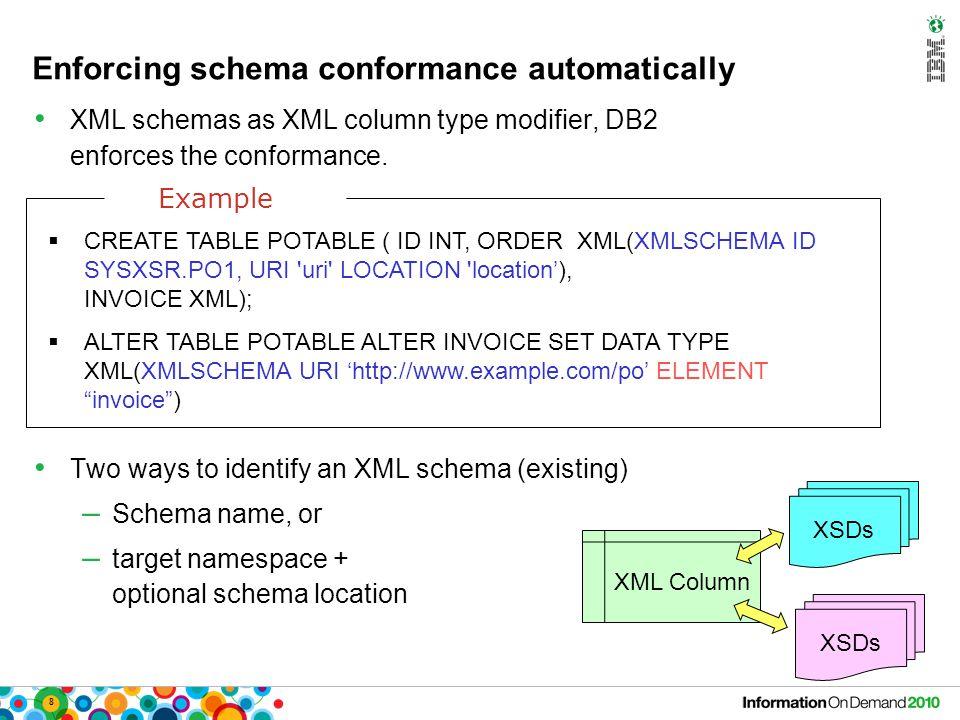 19 Insert expression (1 of 3) Joe Smith Joey Insert OperationResulting XML document insert node $n into /person , XMLPARSE(document Joe.Smith@de.ibm.com ) as n ) (nondeterministic position, DB2 treats it as last) Joe Smith Joey Joe.Smith@de.ibm.com insert node $n as last into /person , XMLPARSE(document Joe.Smith@de.ibm.com ) as n ) Joe Smith Joey Joe.Smith@de.ibm.com update personinfo set info = xmlmodify( insert node $n after /person/nickName , xmlparse(document Joe.Smith@de.ibm.com ) as n ) ; Sample insert statement: Sample XML document: