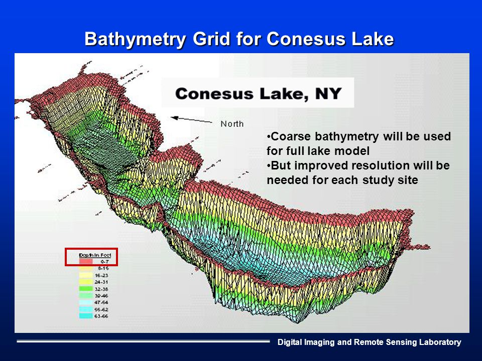 Digital Imaging and Remote Sensing Laboratory Bathymetry Grid for Conesus Lake Coarse bathymetry will be used for full lake model But improved resolution will be needed for each study site