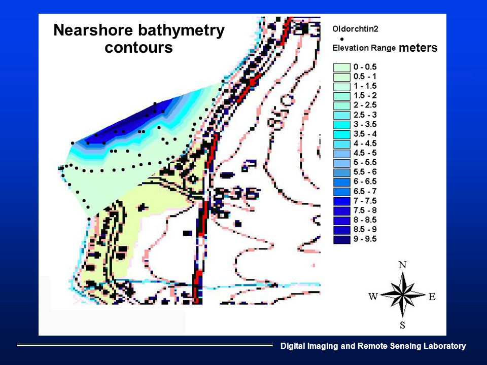 Digital Imaging and Remote Sensing Laboratory Nearshore bathymetry contours meters