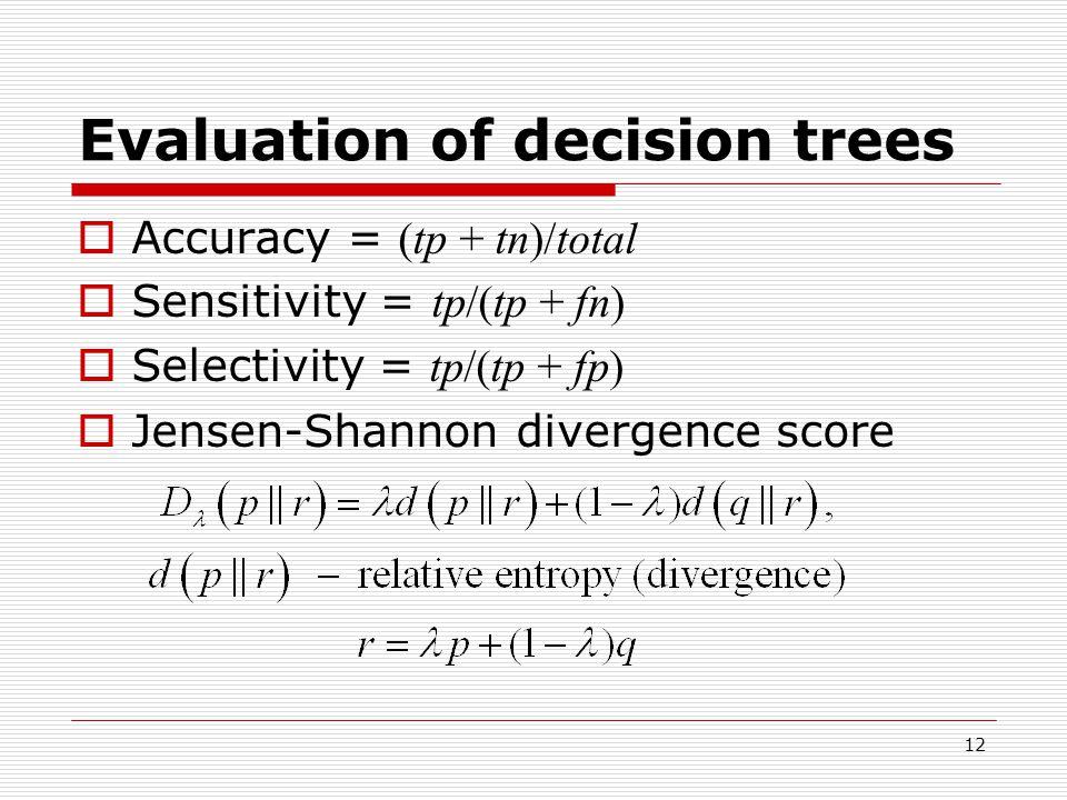 12 Evaluation of decision trees  Accuracy = (tp + tn)/total  Sensitivity = tp/(tp + fn)  Selectivity = tp/(tp + fp)  Jensen-Shannon divergence score
