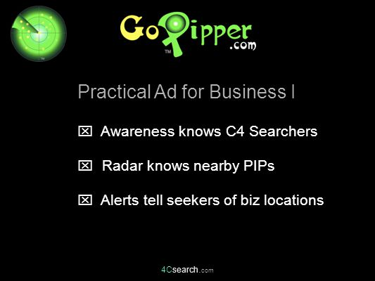  Awareness knows C4 Searchers  Radar knows nearby PIPs  Alerts tell seekers of biz locations Practical Ad for Business I