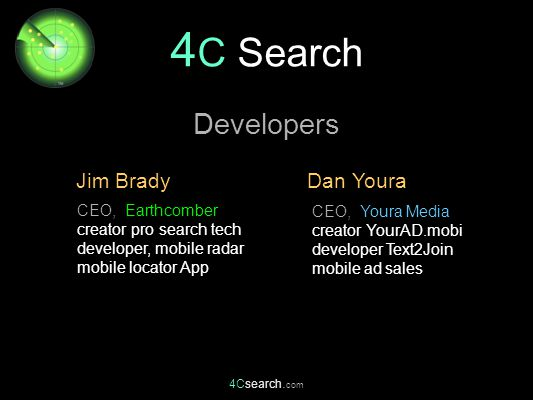 4Csearch. com CEO, Youra Media creator YourAD.mobi developer Text2Join mobile ad sales Dan Youra Jim Brady Developers CEO, Earthcomber creator pro sea