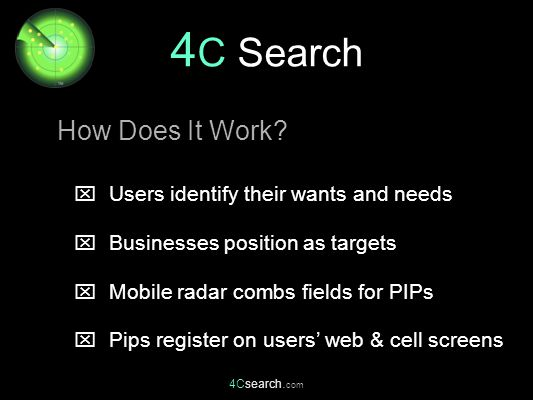 4Csearch. com  Users identify their wants and needs  Businesses position as targets  Mobile radar combs fields for PIPs  Pips register on users' w