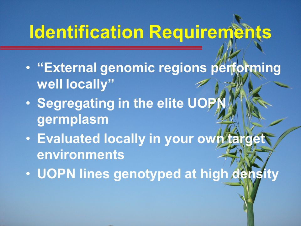 "Identification Requirements ""External genomic regions performing well locally"" Segregating in the elite UOPN germplasm Evaluated locally in your own t"