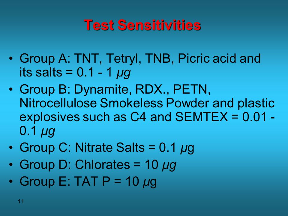 11 Test Sensitivities Group A: TNT, Tetryl, TNB, Picric acid and its salts = 0.1 - 1 µg Group B: Dynamite, RDX., PETN, Nitrocellulose Smokeless Powder and plastic explosives such as C4 and SEMTEX = 0.01 - 0.1 µg Group C: Nitrate Salts = 0.1 µg Group D: Chlorates = 10 µg Group E: TAT P = 10 µg