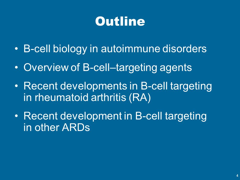 25 Conclusions Studies with RTX have demonstrated an attractive safety/efficacy profile in RA and encouraged the development of newer agents A diversity of additional strategies for targeting B cells, as well as design of biologic agents, are currently under investigation Different B-cell subsets, including naïve B cells, plasma cells/blasts, and memory B cells, appear to make different contributions to pathogenesis The capacity to inhibit or delete each B-cell subset varies greatly based on the mechanism of action of the therapeutic agent Investigations into B-cell–targeted therapy are providing new therapeutic options as well as helping to elucidate previously unknown immunologic mechanisms of pathogenesis.