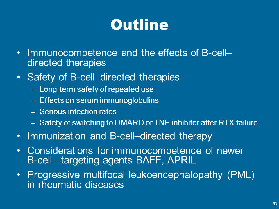 53 Outline Immunocompetence and the effects of B-cell– directed therapies Safety of B-cell–directed therapies –Long-term safety of repeated use –Effec