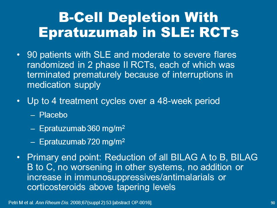 90 Petri M et al. Ann Rheum Dis. 2008;67(suppl 2):53 [abstract OP-0016]. B-Cell Depletion With Epratuzumab in SLE: RCTs 90 patients with SLE and moder