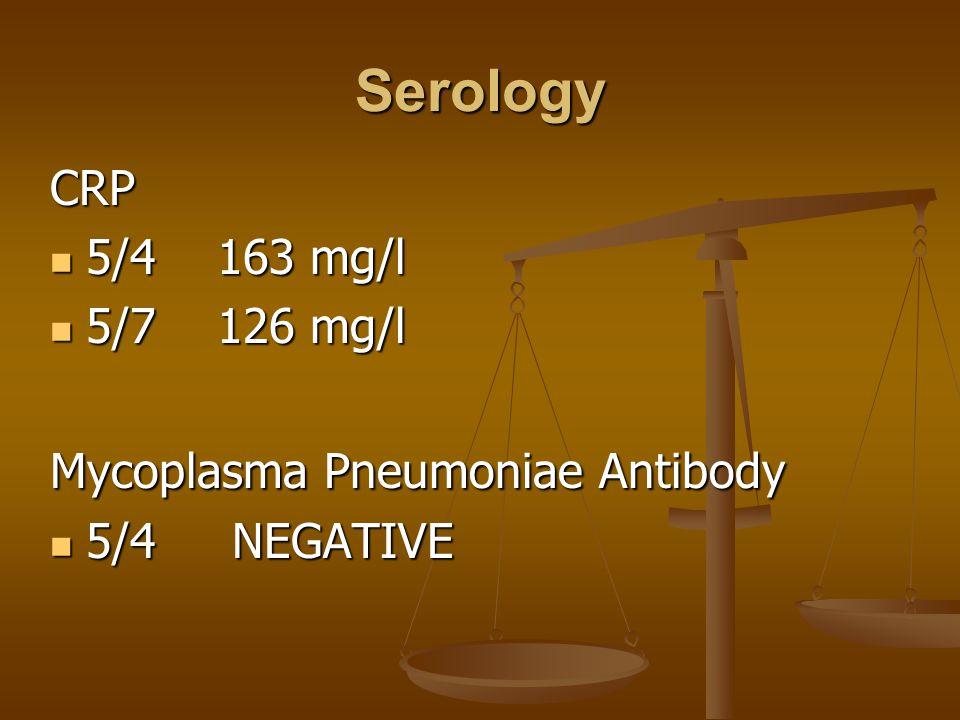 Serology CRP 5/4 163 mg/l 5/4 163 mg/l 5/7 126 mg/l 5/7 126 mg/l Mycoplasma Pneumoniae Antibody 5/4 NEGATIVE 5/4 NEGATIVE