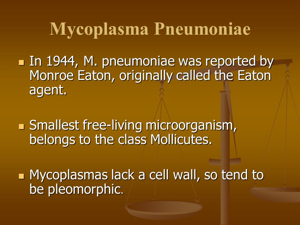 Mycoplasma Pneumoniae In 1944, M.