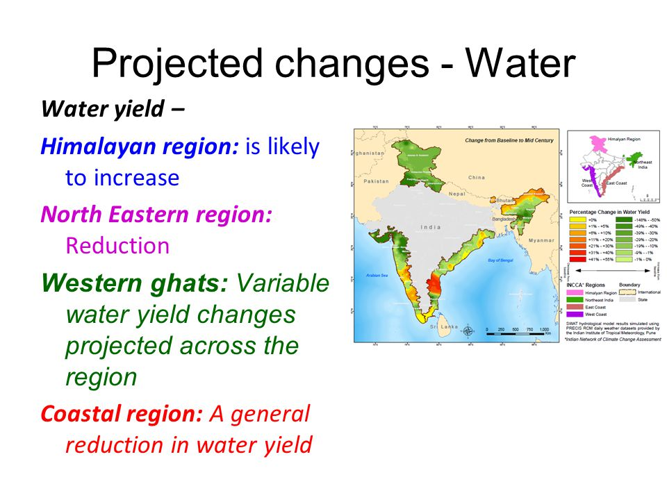 Projected changes - Water Water yield – Himalayan region: is likely to increase North Eastern region: Reduction Western ghats: Variable water yield changes projected across the region Coastal region: A general reduction in water yield