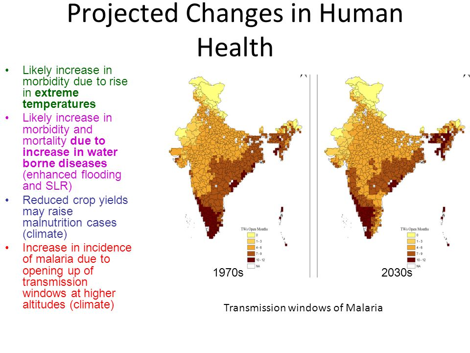 Projected Changes in Human Health Likely increase in morbidity due to rise in extreme temperatures Likely increase in morbidity and mortality due to increase in water borne diseases (enhanced flooding and SLR) Reduced crop yields may raise malnutrition cases (climate) Increase in incidence of malaria due to opening up of transmission windows at higher altitudes (climate) 1970s 2030s Transmission windows of Malaria