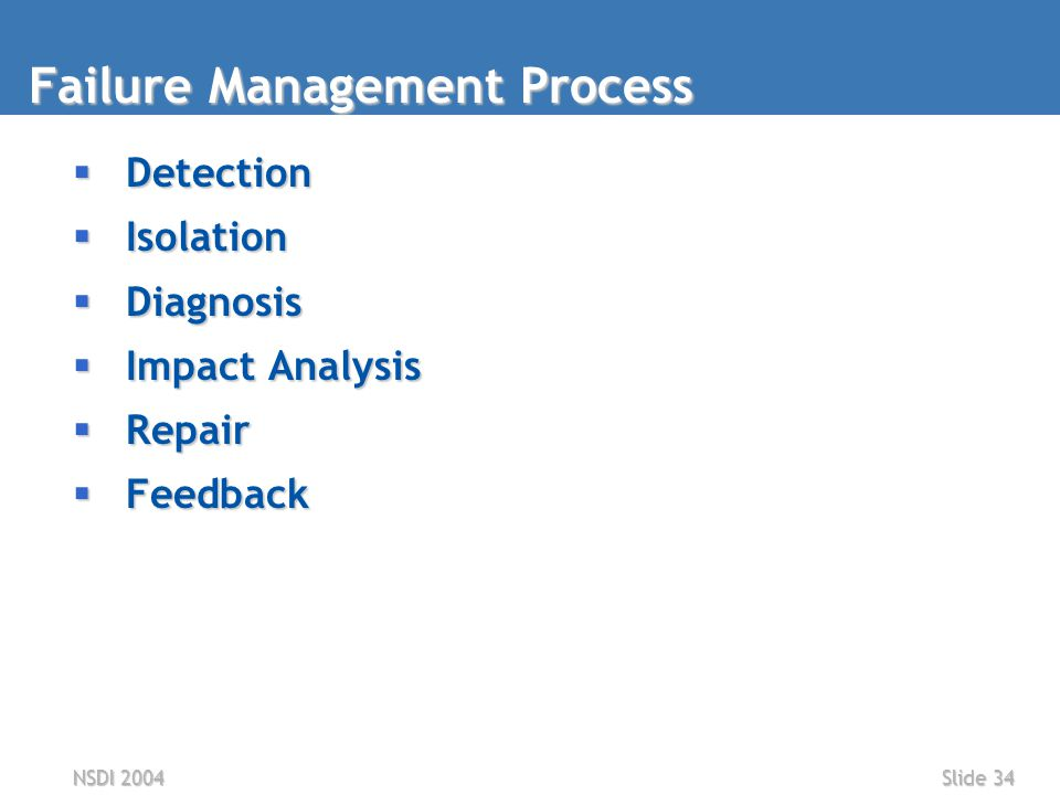 NSDI 2004Slide 34 Failure Management Process  Detection  Isolation  Diagnosis  Impact Analysis  Repair  Feedback