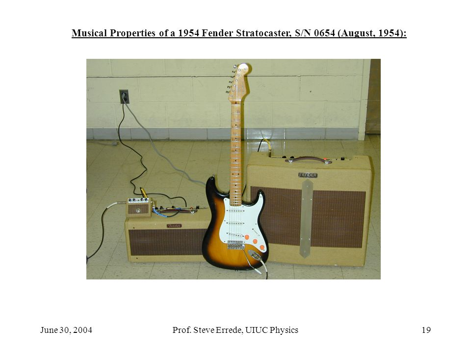 June 30, 2004Prof. Steve Errede, UIUC Physics19 Musical Properties of a 1954 Fender Stratocaster, S/N 0654 (August, 1954):