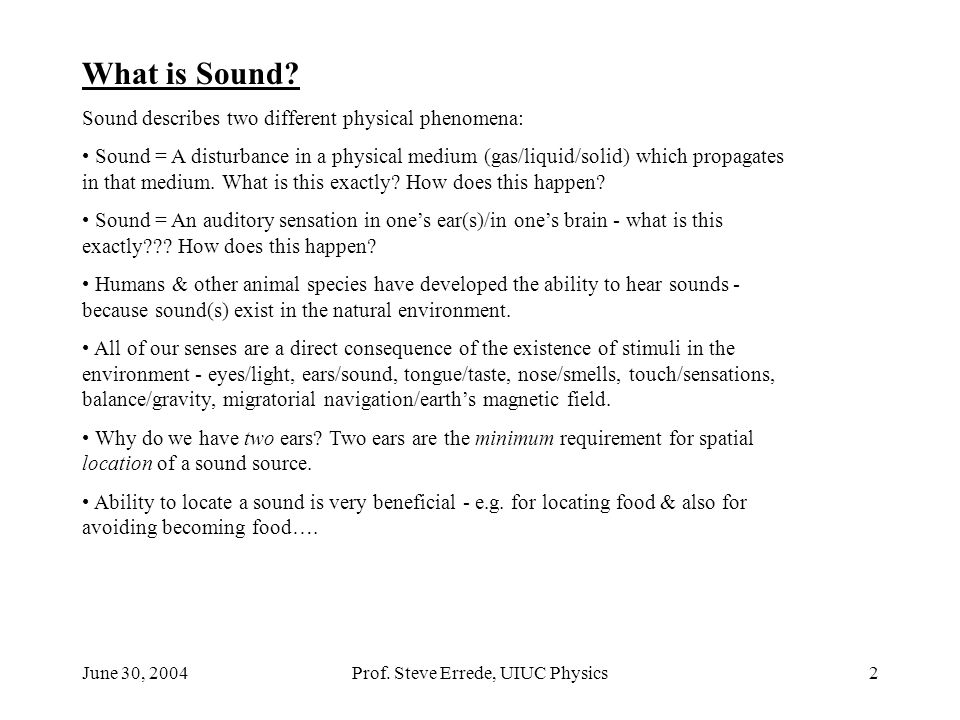 June 30, 2004Prof. Steve Errede, UIUC Physics2 What is Sound? Sound describes two different physical phenomena: Sound = A disturbance in a physical me
