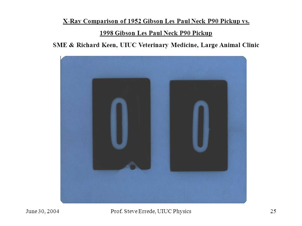 June 30, 2004Prof. Steve Errede, UIUC Physics25 X-Ray Comparison of 1952 Gibson Les Paul Neck P90 Pickup vs. 1998 Gibson Les Paul Neck P90 Pickup SME