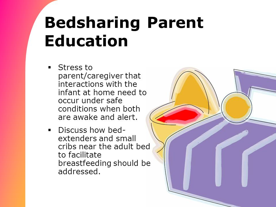 Bedsharing Parent Education  Stress to parent/caregiver that interactions with the infant at home need to occur under safe conditions when both are awake and alert.