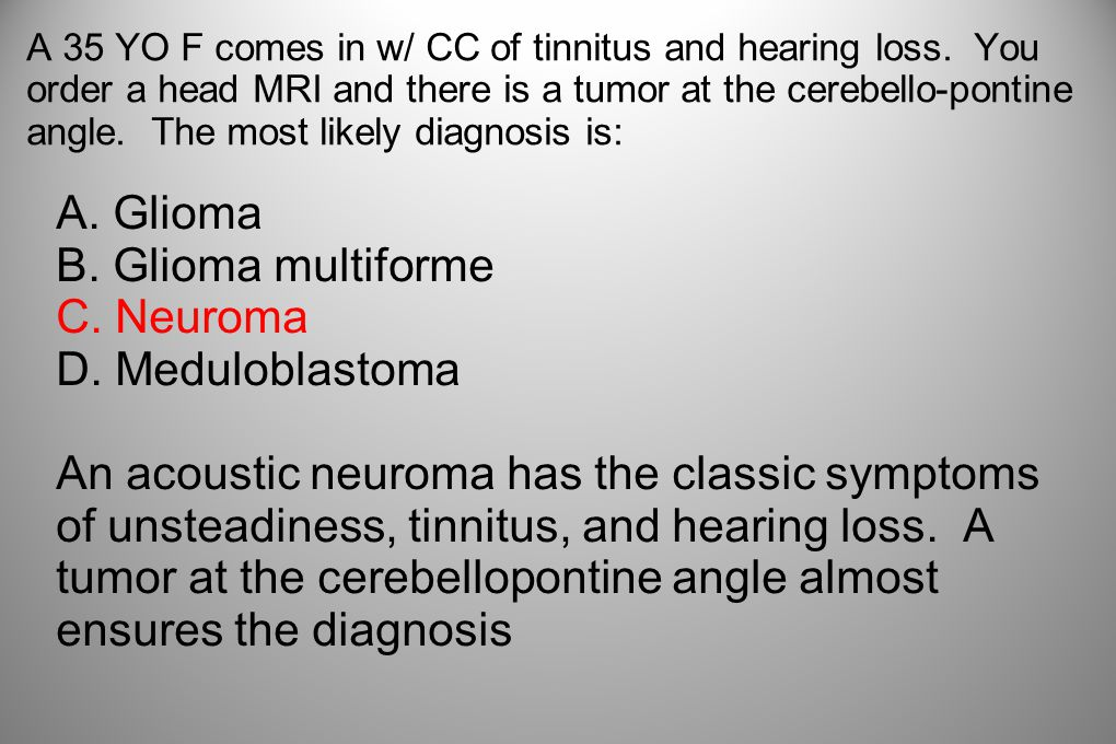 A 35 YO F comes in w/ CC of tinnitus and hearing loss. You order a head MRI and there is a tumor at the cerebello-pontine angle. The most likely diagn