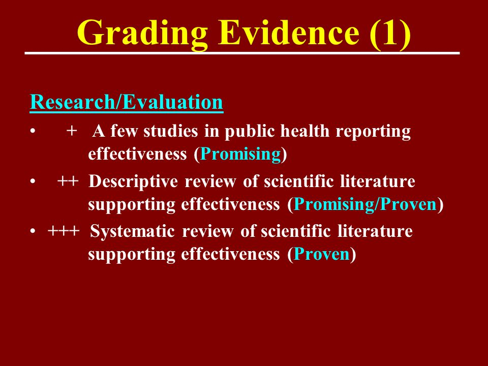 Grading Evidence (1) Research/Evaluation + A few studies in public health reporting effectiveness (Promising) ++ Descriptive review of scientific lite