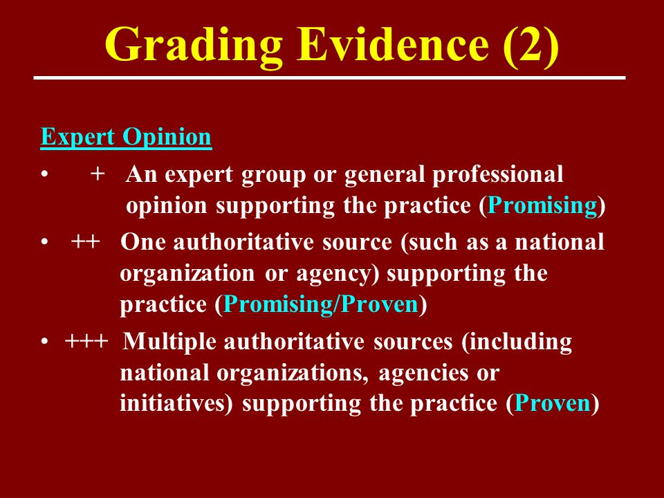 Grading Evidence (2) Expert Opinion + An expert group or general professional opinion supporting the practice (Promising) ++ One authoritative source