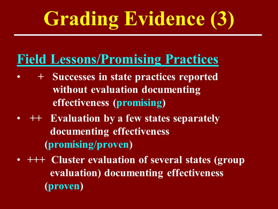 Grading Evidence (3) Field Lessons/Promising Practices + Successes in state practices reported without evaluation documenting effectiveness (promising