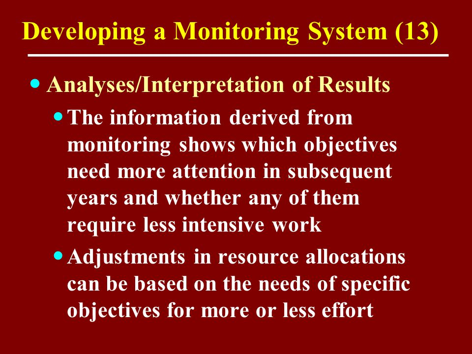 Developing a Monitoring System (13) Analyses/Interpretation of Results The information derived from monitoring shows which objectives need more attent