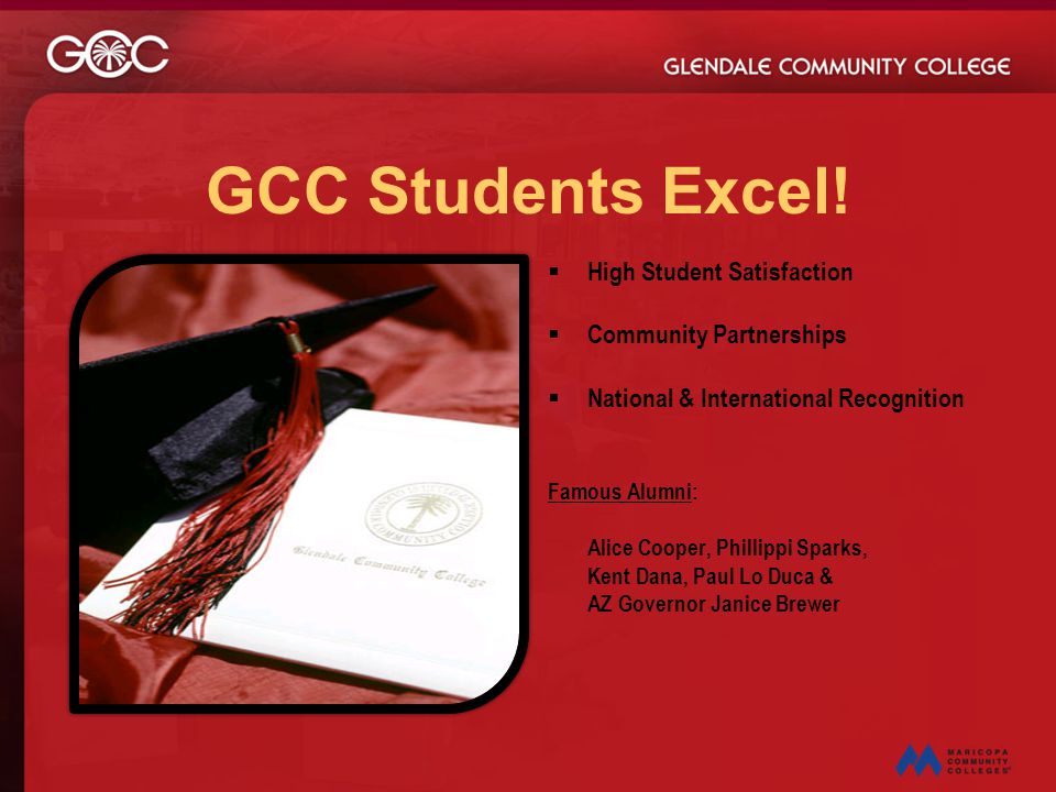 GCC Students Excel!  High Student Satisfaction  Community Partnerships  National & International Recognition Famous Alumni: Alice Cooper, Phillippi