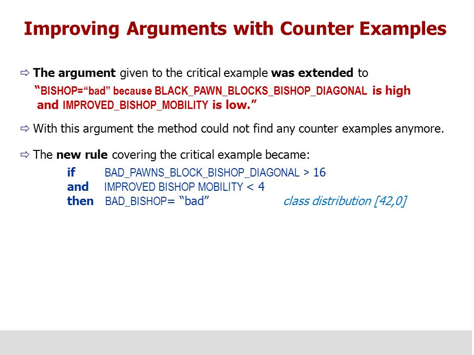 "Improving Arguments with Counter Examples  The argument given to the critical example was extended to "" BISHOP=""bad"" because BLACK_PAWN_BLOCKS_BISHOP"