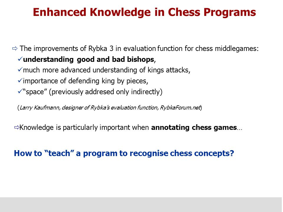 Enhanced Knowledge in Chess Programs  The improvements of Rybka 3 in evaluation function for chess middlegames: understanding good and bad bishops, m