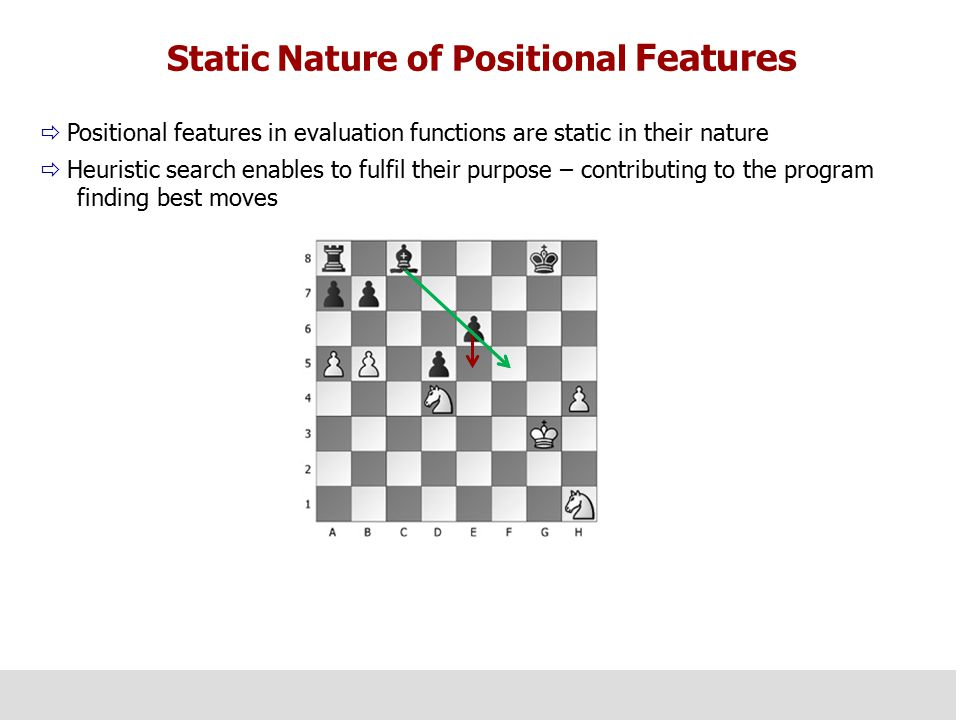 Static Nature of Positional Features  Positional features in evaluation functions are static in their nature  Heuristic search enables to fulfil their purpose – contributing to the program finding best moves  It is also desirable for positional features for annotating chess games to be of static nature.