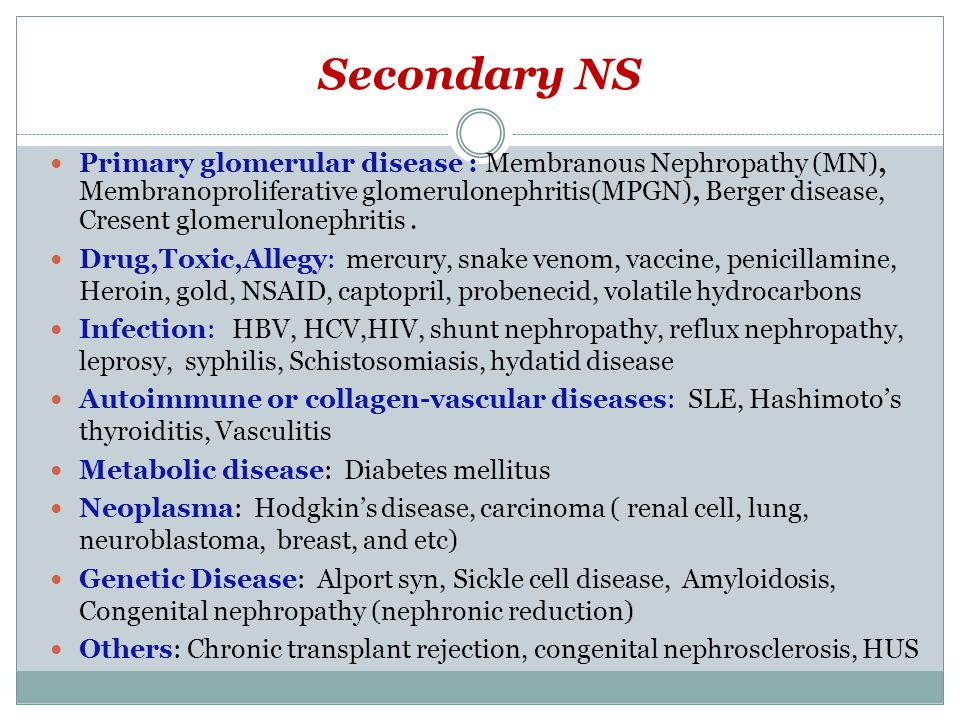 Secondary NS Primary glomerular disease : Membranous Nephropathy (MN), Membranoproliferative glomerulonephritis(MPGN), Berger disease, Cresent glomerulonephritis.