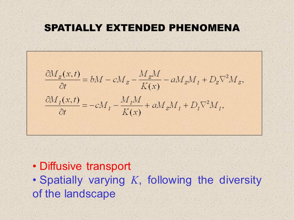 SPATIALLY EXTENDED PHENOMENA Diffusive transport Spatially varying K, following the diversity of the landscape