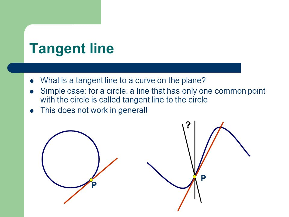 P Tangent line What is a tangent line to a curve on the plane? Simple case: for a circle, a line that has only one common point with the circle is cal