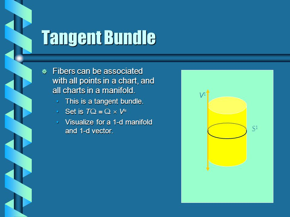 Tangent Bundle  Fibers can be associated with all points in a chart, and all charts in a manifold.
