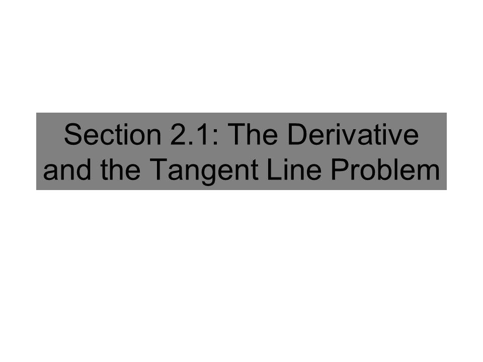 Section 2.1 – Classwork 1 TANGENT LINE Slope = -48 Slope = -32 Slope = -24 Slope = -17.6 Slope ≈ -16 Secant Lines These can be considered average slopes or average rates of change.