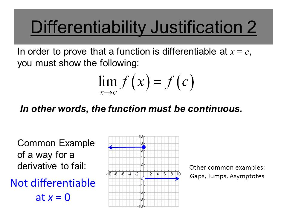 Differentiability Justification 2 In order to prove that a function is differentiable at x = c, you must show the following: In other words, the function must be continuous.