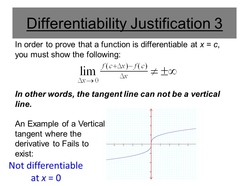 Differentiability Justification 3 In order to prove that a function is differentiable at x = c, you must show the following: In other words, the tange