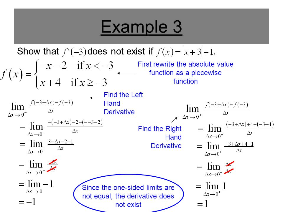 Example 3 Show that does not exist if.